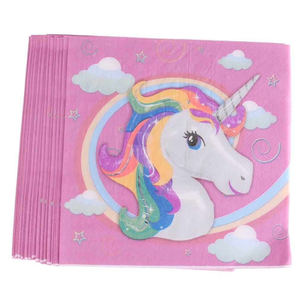 MagiDeal 20 Pezzi Magico Unicorno Carta Tovagliolo Compleanno Per Bambini 16, 5 x 16, 5 cm