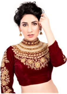 79a60bbb233b3b Maharana Full Sleeve Maroon Velvet Saree Blouse Sari Choli Crop Top - KP-72