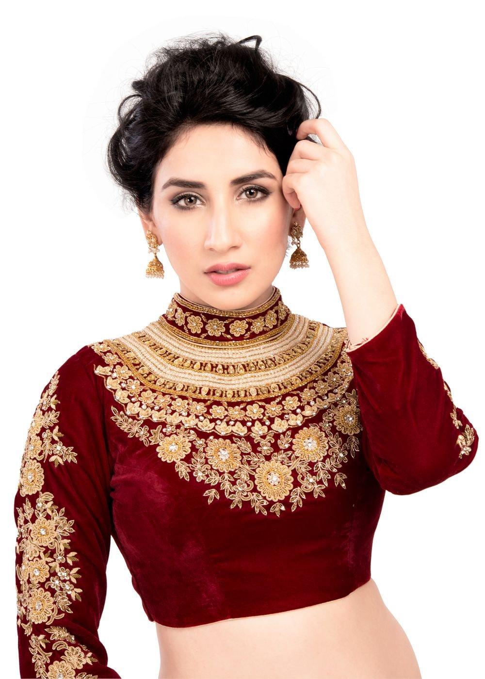 Maharana Full Sleeve Maroon Velvet Saree Blouse Sari Choli Crop Top - KP-72
