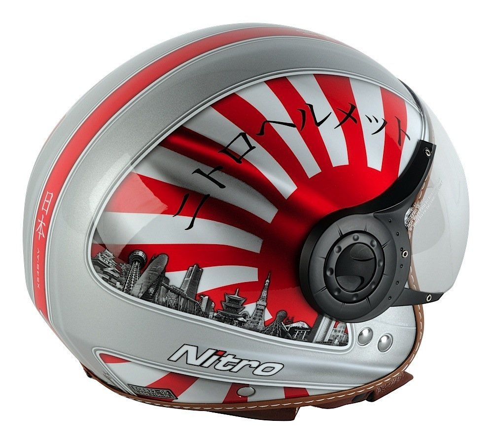 Nitro Japan Casco Moto, Blanco/Rojo/Negro, M: Amazon.es: Ropa y accesorios