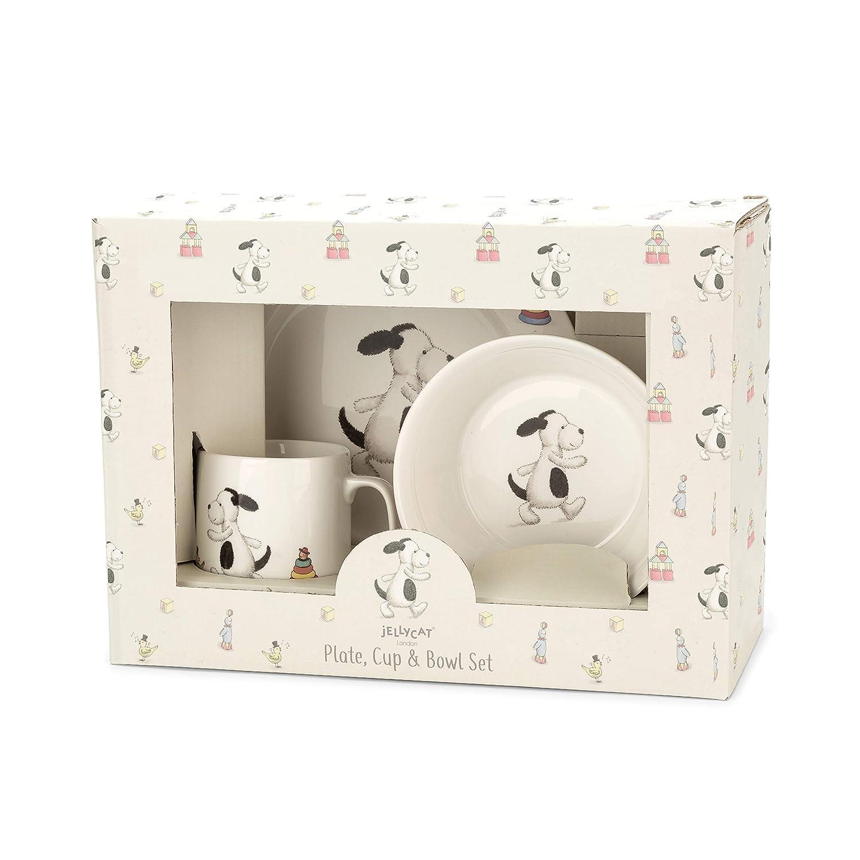 Teller und Sch/üssel aus Porzellan in sch/öner Verpackung JELLYCAT BASHFUL Unicorn Einhorn Kinder Geschirr Set Geschenkset aus Becher
