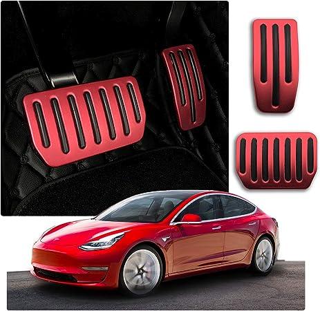 Cdefg Für Model 3 Auto Bremse Gaspeda Aluminiumlegierung Fußstütze Anti Rutsch Bremse Pedalkappen Innenraum Zubehör Rot Auto