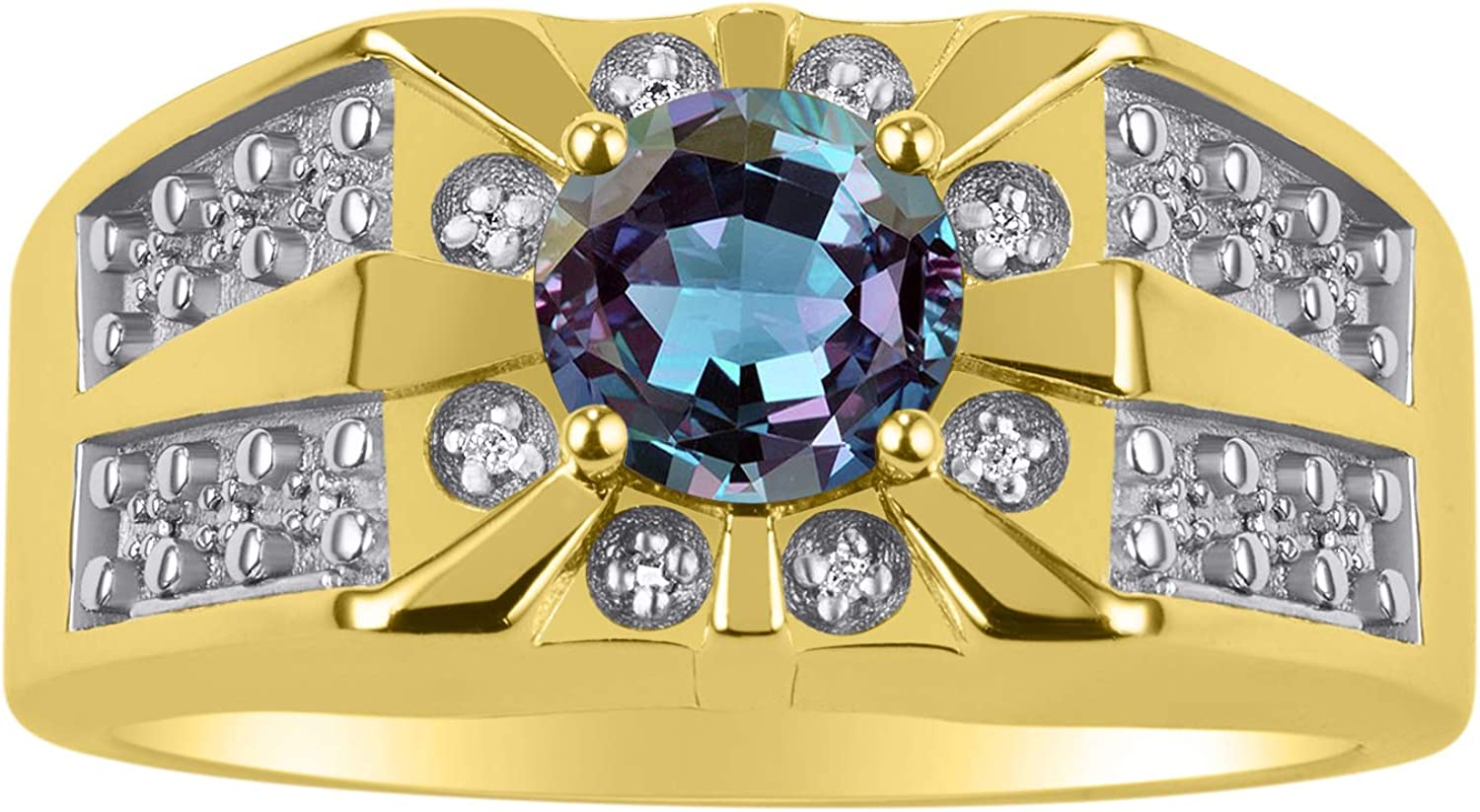 RYLOS Gorgeous 7MM Round Shape Gemstone Color Stone and Genuine Sparkling Diamonds Set in 14K Yellow Gold Plated Silver .925