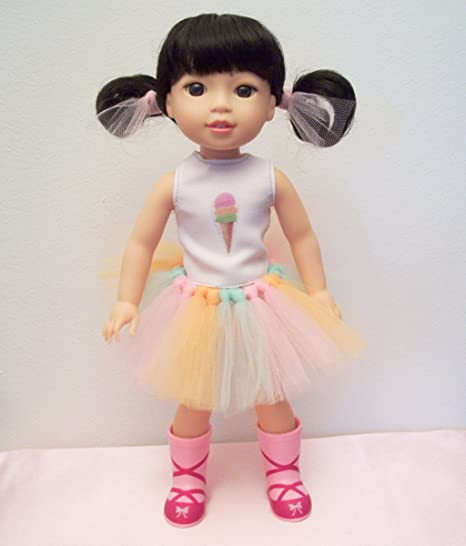 Jessieraye Ice Cream Sherbet 2 Pc Outfit Shirt And Tutu Skirt Perfect For American Girl