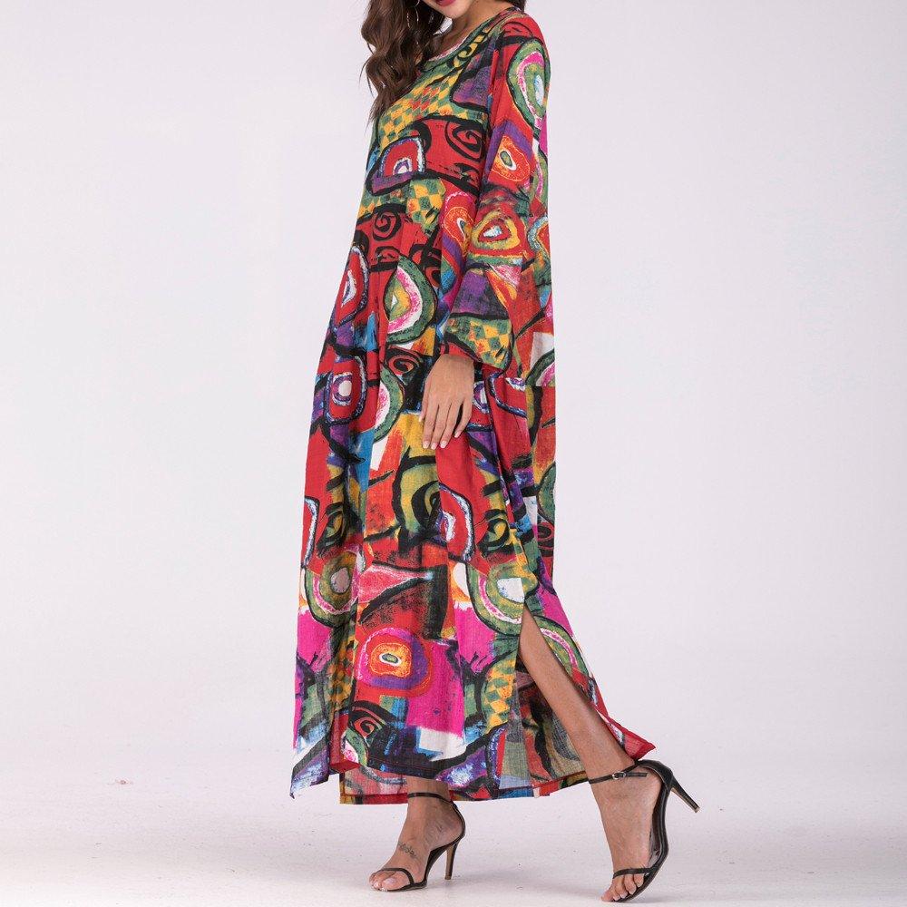 LuckyGirls Vestido Largo de Manga Larga Suelto Algodón y Lino Originales Estampado Moda Casual Playa Maxi Faldas de Las Mujeres Vestido de Noche Fiesta ...