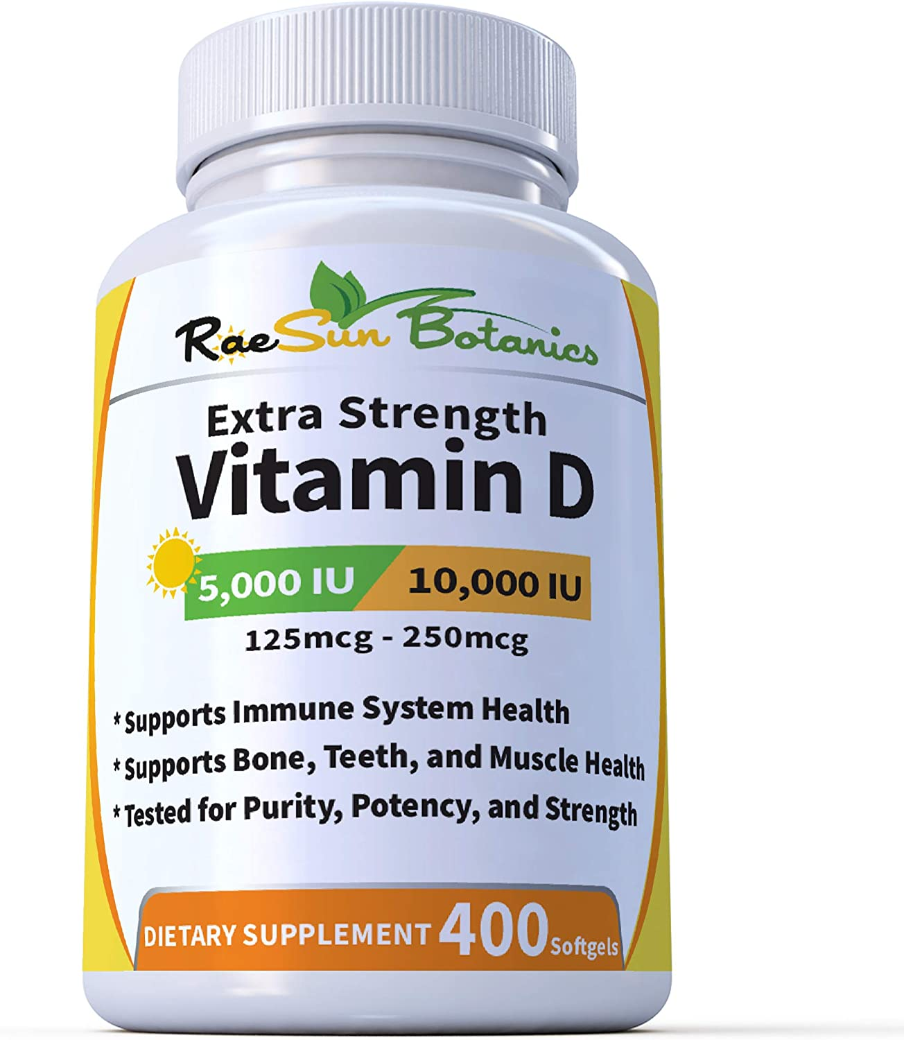 RaeSun Botanics Extra Strength Vitamin D3 Adjustable Dose - 5,000 IU (1 Year Plus Supply) | 10,000 IU (6.5 Month Supply) - Vitamin D Supplement - Gluten Free, Non GMO, Made in USA [400 Softgels]