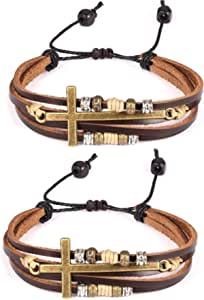 2 Pcs Vintage Handmade Wristband Religious Cross Wrap Bracelets Women Leather Christian Jewelry for Confirmation Gifts, Adjustable
