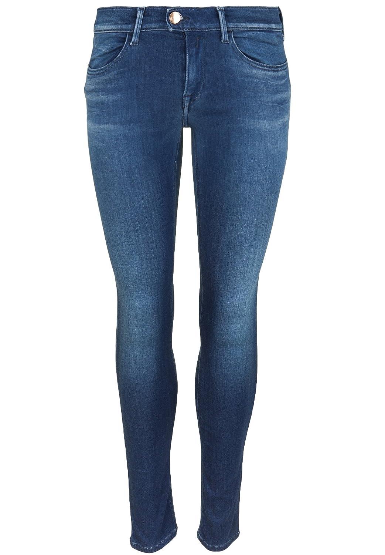 TALLA 28W / 30L. REPLAY Touch Medium Blue, Jeans Ajustados para Mujer