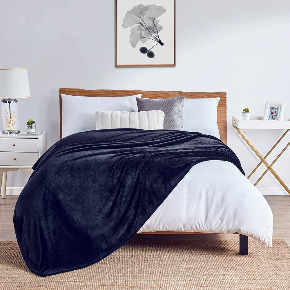 """Walensee Fleece Blanket Plush Throw Fuzzy Lightweight (Twin Size 60""""x80"""" Navy Blue) Super Soft Microfiber Flannel Blankets for Couch, Bed, Sofa Ultra Luxurious Warm and Cozy for All Seasons"""