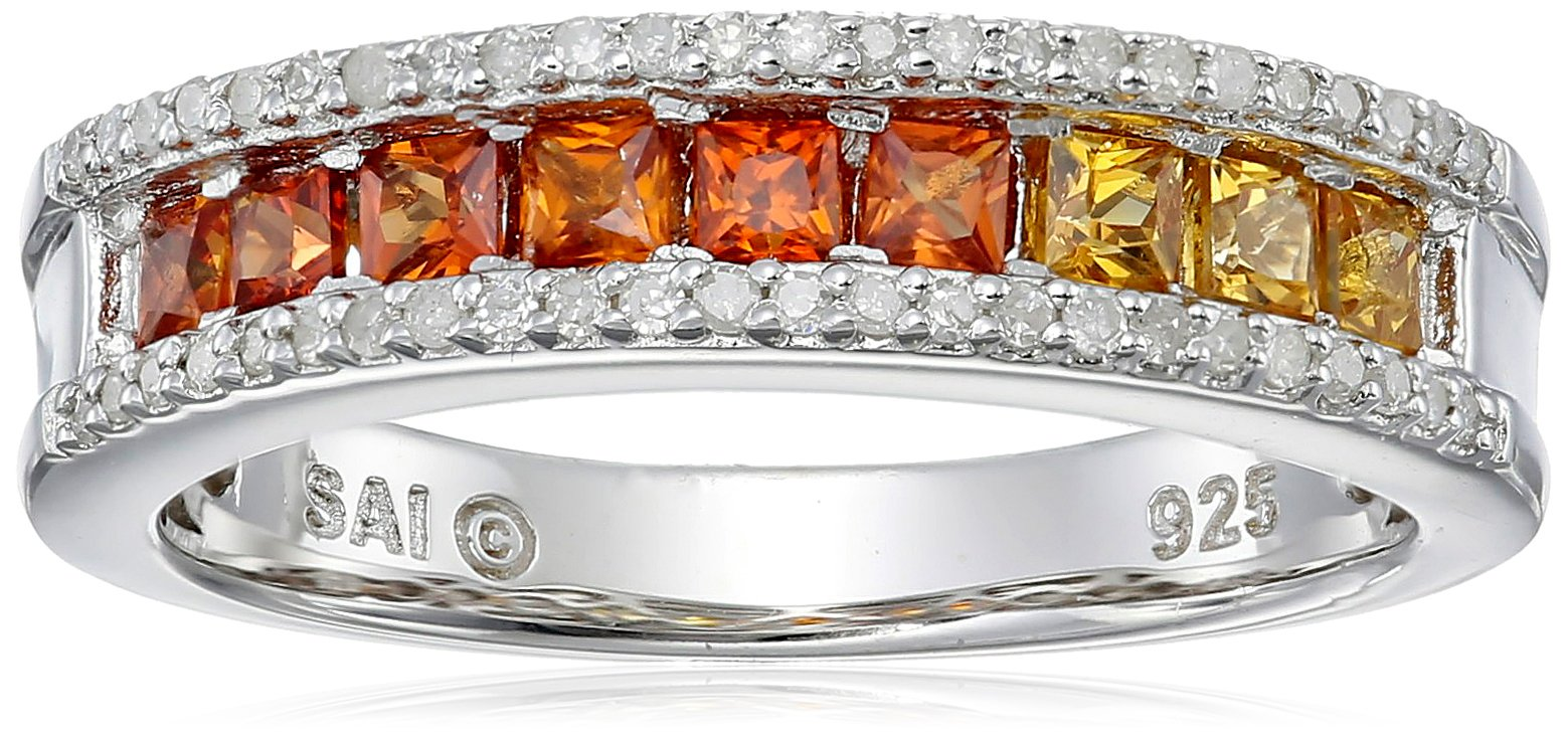Sterling Silver Shades of Princess Orange Sapphire and Diamond Ring, Size 7
