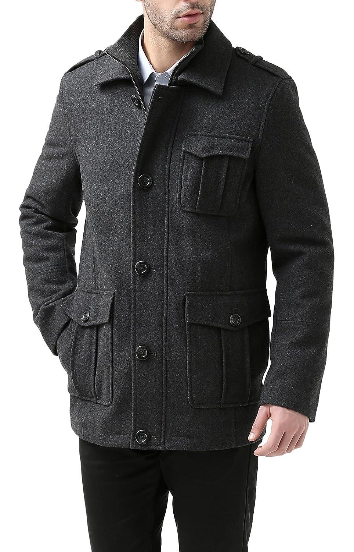 BGSD Men's 'Harrison' Wool Blend Knit Collar Car Coat