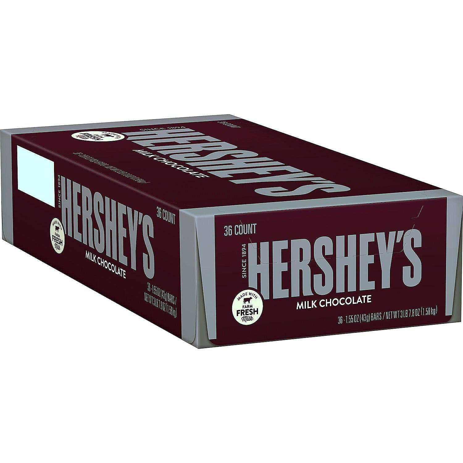 Milk Chocolate Candy Bars, 1.55-oz. Bars, 36 Count (2 Pack)