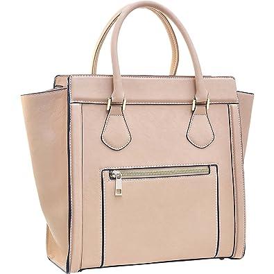 7f4c912780 Dasein Medium Winged Satchel (Beige)  Handbags  Amazon.com