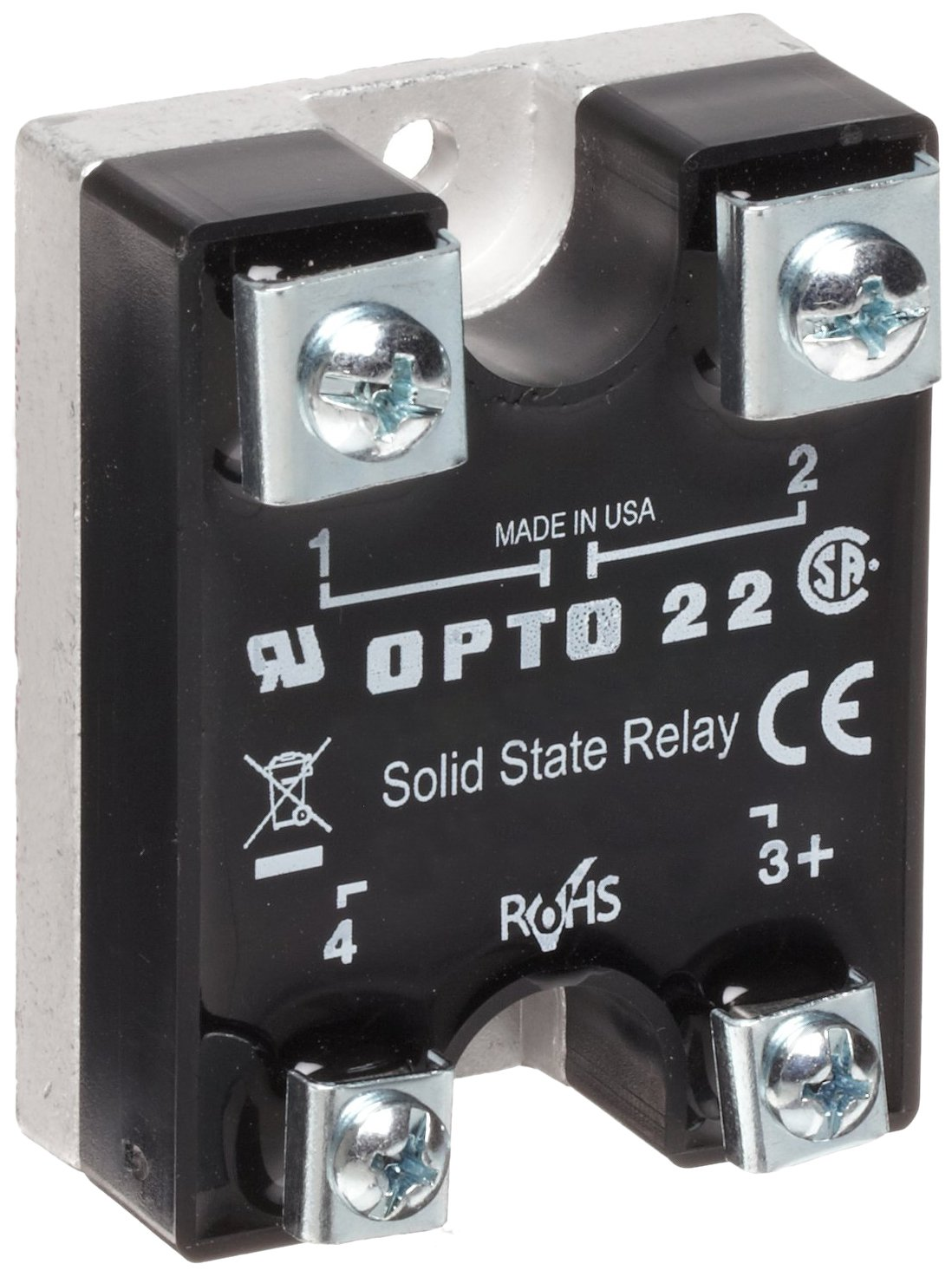 Opto 22 240D45 DC Control Solid State Relay, 240 VAC, 45 Amp, 4000 V  Optical Isolation, 1/2 Cycle Maximum Turn-On/Off Time, 25-65 Hz Operating  Frequency: ...