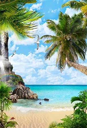 Zhy Leowefowa 2.5x1.5m Polyester Backdrop Summer Backdrop Tropical Sea Beach Sunny Sky Palms Trees Photo Background for Party Photo Shoots Baby Kids Studio Props Photography Backdrops