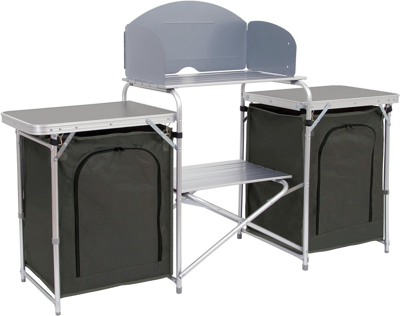 Camp Fuego camping Armario, aluminio camping Cocina, (B) 171 x (H) 111 x (T) 48 cm, plegable con protección contra salpicaduras, muchos Bandejas y ...