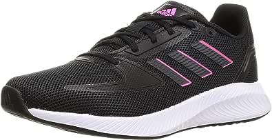 حذاء رياضي ران فالكون 2.0 للجري برباط ولوجو خلفي وخطوط جانبية للنساء من اديداس- اسود كور