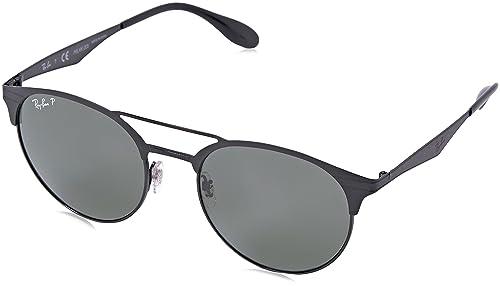 Ray-Ban occhiali da sole rotondi in metallo di doppio ponte in nero polarizzato RB3545 186/9A 51