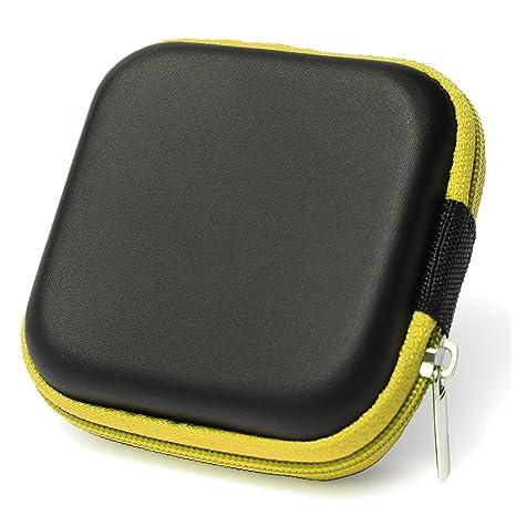 Caja estuche de auriculares - SODIAL(R) Cubierta caja estuche protector bolsa de auriculares de diseno simple cuedrado para cables de auriculares ...