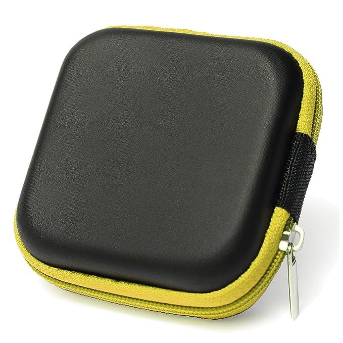 Caja estuche de auriculares - SODIAL(R) Cubierta caja estuche protector bolsa de auriculares de diseno simple cuedrado para cables de auriculares moneda o ...