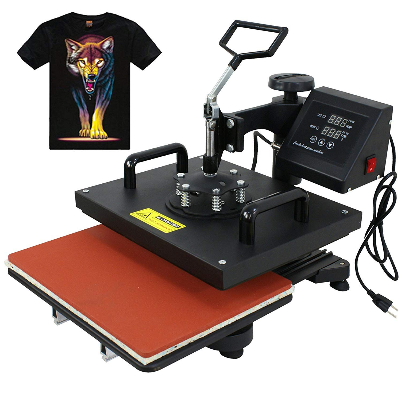 F2C Pro 15x 15 Heat Press Teflon Clamshell Digital Transfer T-Shirt Press Sublimation Transfer Machine Heat Press Machine for T Shirt 15X15 T-Shirt