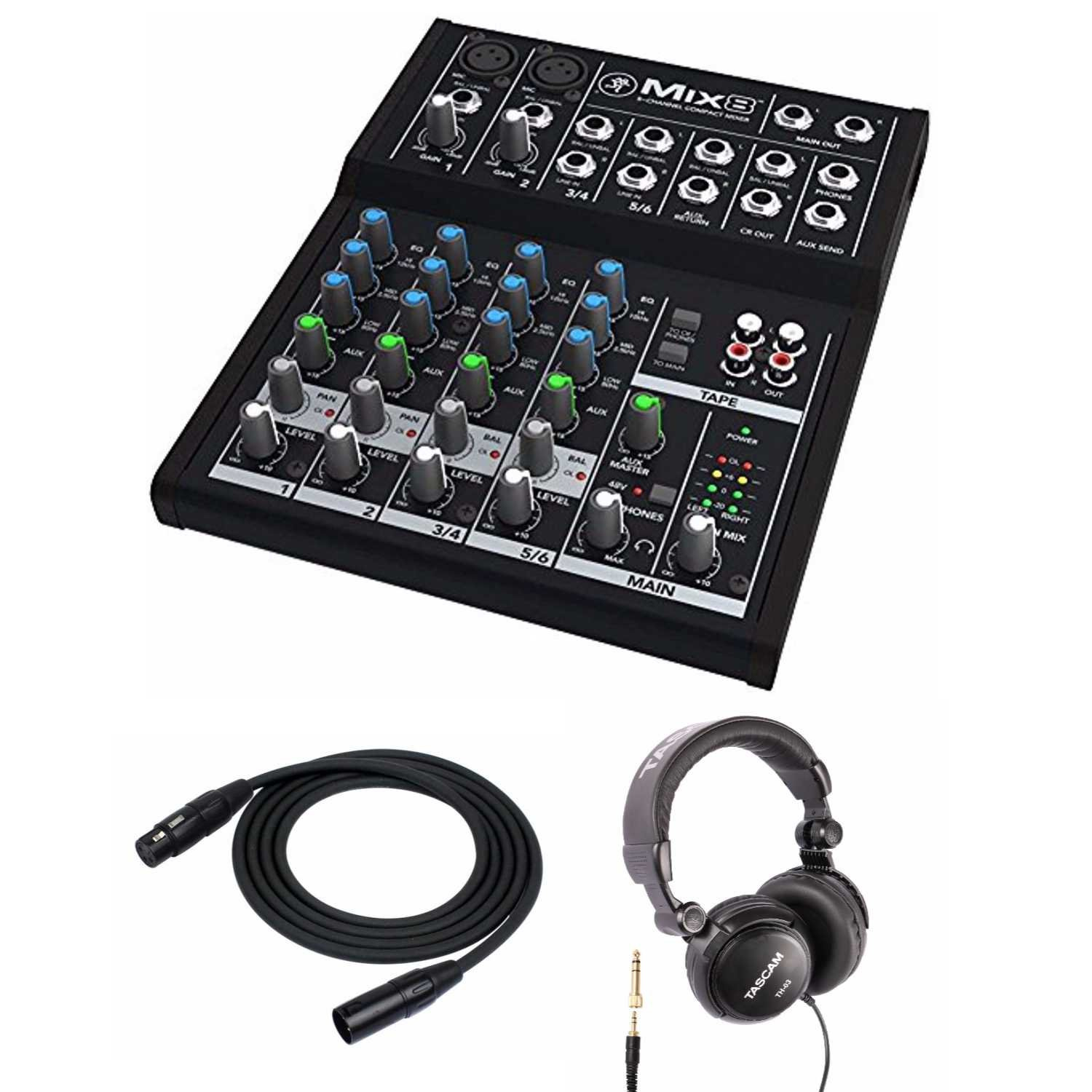Mackie Mix8 8-channel Compact Mixer with Full Size Studio Headphones and XLR Cable by Mackie