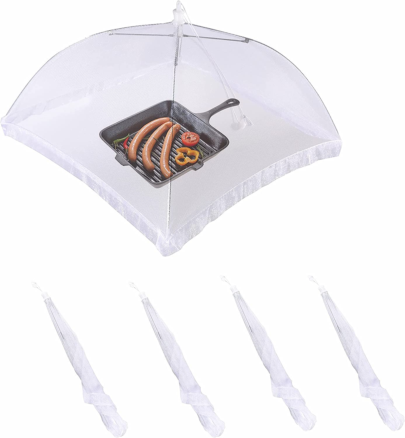 4pcs Food Covering Tents, White Mesh Screen food Cover for Outdoor Picnics, BBQ, Camping and Parties (Ribbon Trimmed)