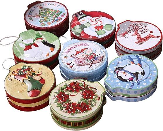 Scatola Latta Biscotti Natale.Amosfun Scatole Di Latta Per Biscotti Di Caramelle Rotonde Di Scatola Di Latta Di Natale Da 8 Pezzi Per Regalo Di Festa Di Natale Amazon It Casa E Cucina