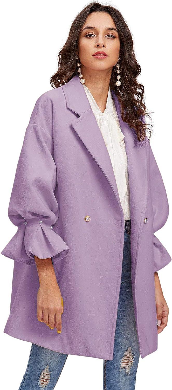 Milumia Womens Drop Shoulder Pearl Detail Ruffle Cuff Long Sleeve Coat Windbreaker