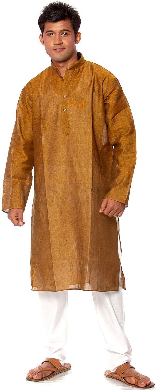 Plain Bistre-Brown Exotic India Plain Bistre-Brown Kurta Pajama
