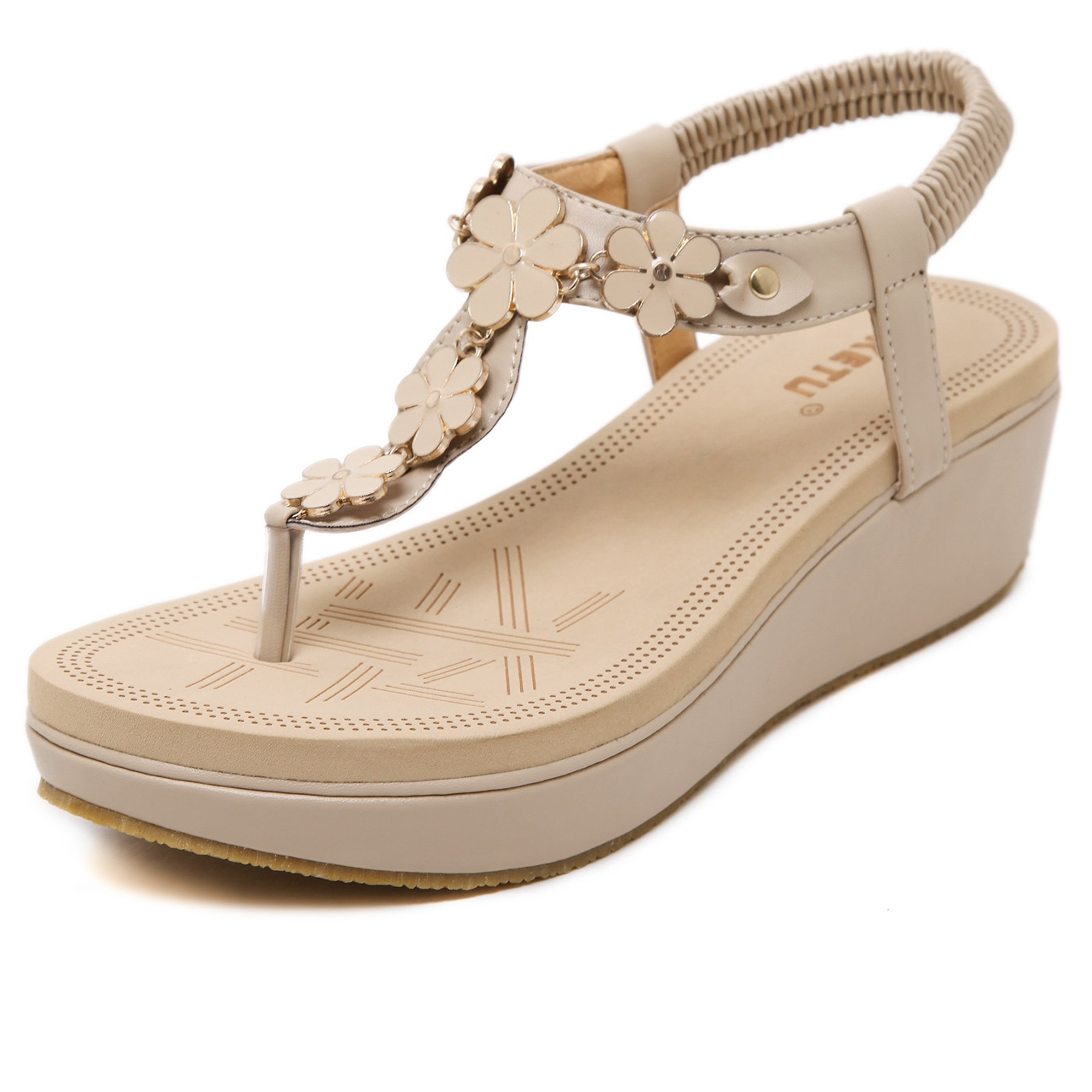Meeshine Womens Wedge Sandals Thong Platform Beaded Slingback Bohemia Summer Sandal New Apricot 6 US