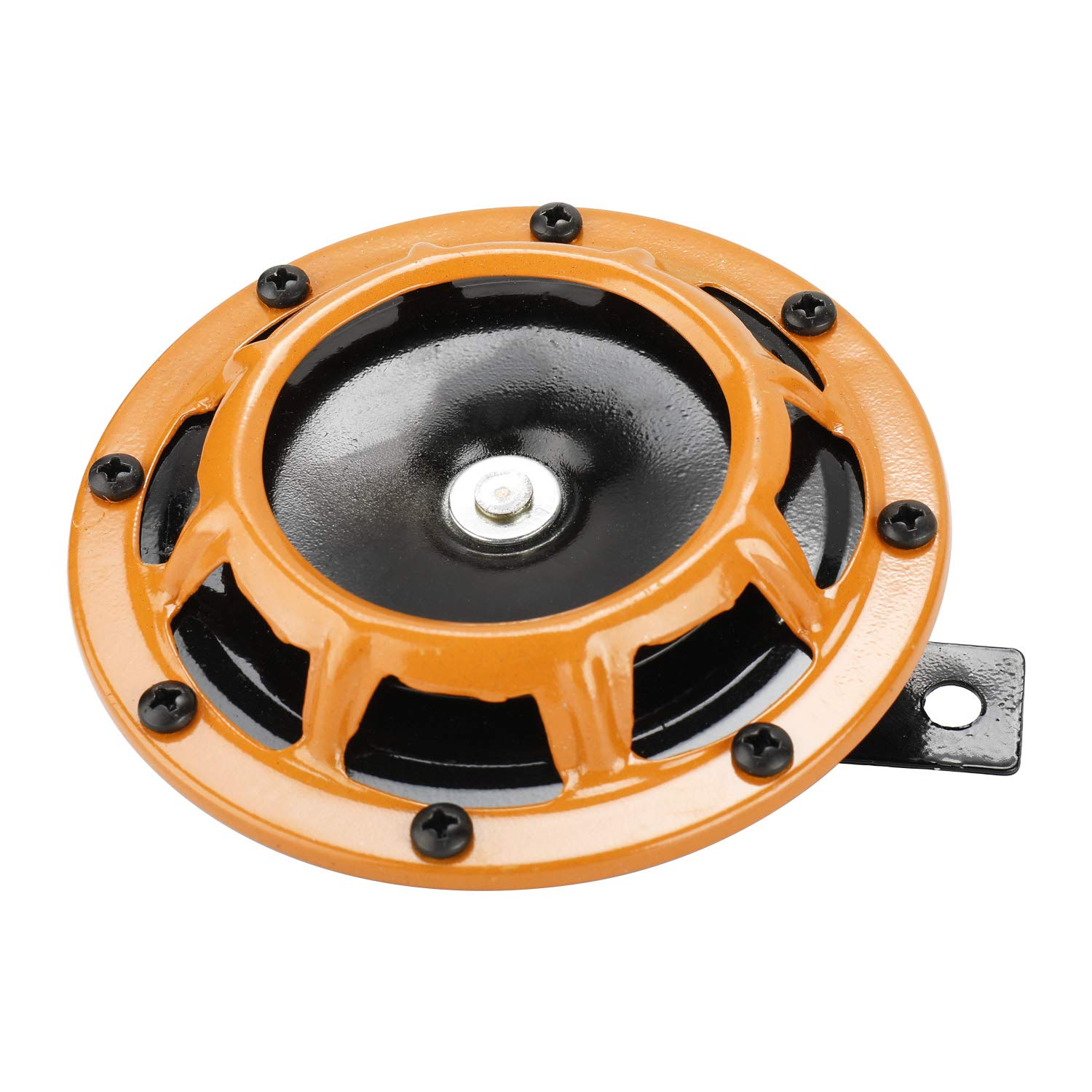 Novelbee 12V 110db Electric Super Horn with Bracket,High Tone and Low Tone Metal Twin Horn Kit for Boat,Car,Truck,Motorcycle Orange