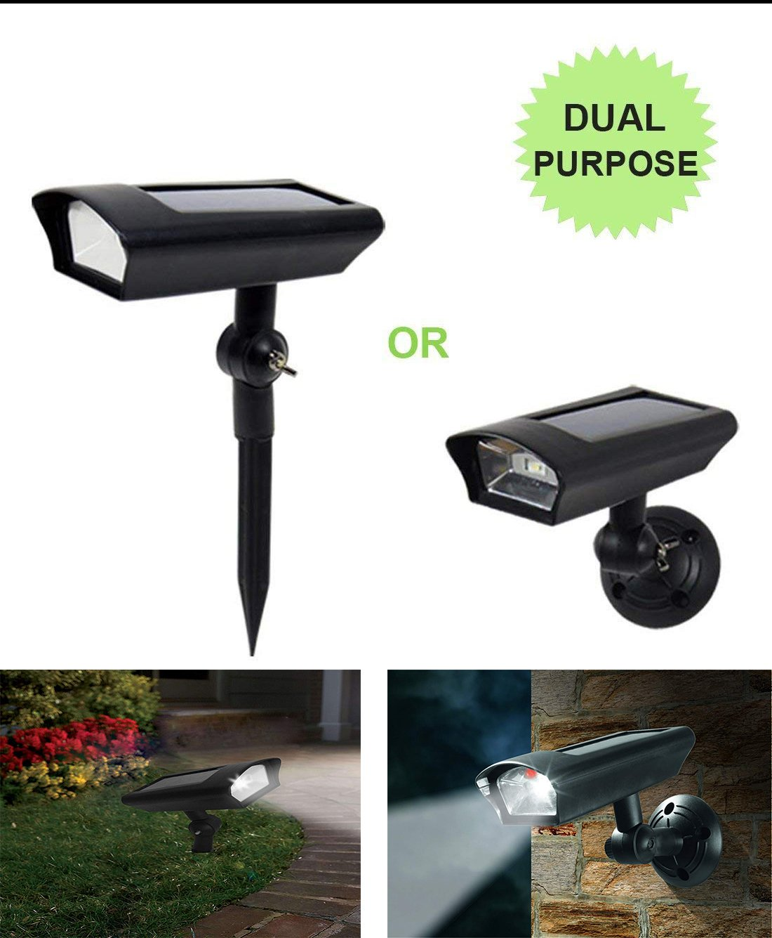 Solar LED Lawn Light Outdoor Motion Sensor Dusk to Dawn Fake Dummy Camera for Garden Ground Path Porch Wall Security Dual Use Wireless Waterproof Pack of 1