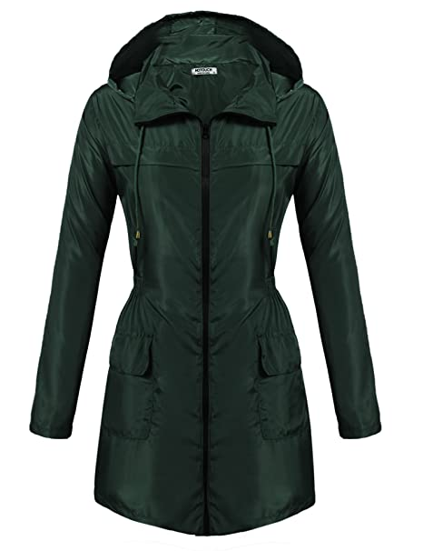 quality and quantity assured delicate colors shoes for cheap Hotouch Womens Lightweight Travel Trench Slightly Waterproof Raincoat  Hoodie Windproof Hiking Coat Packable Rain Jacket
