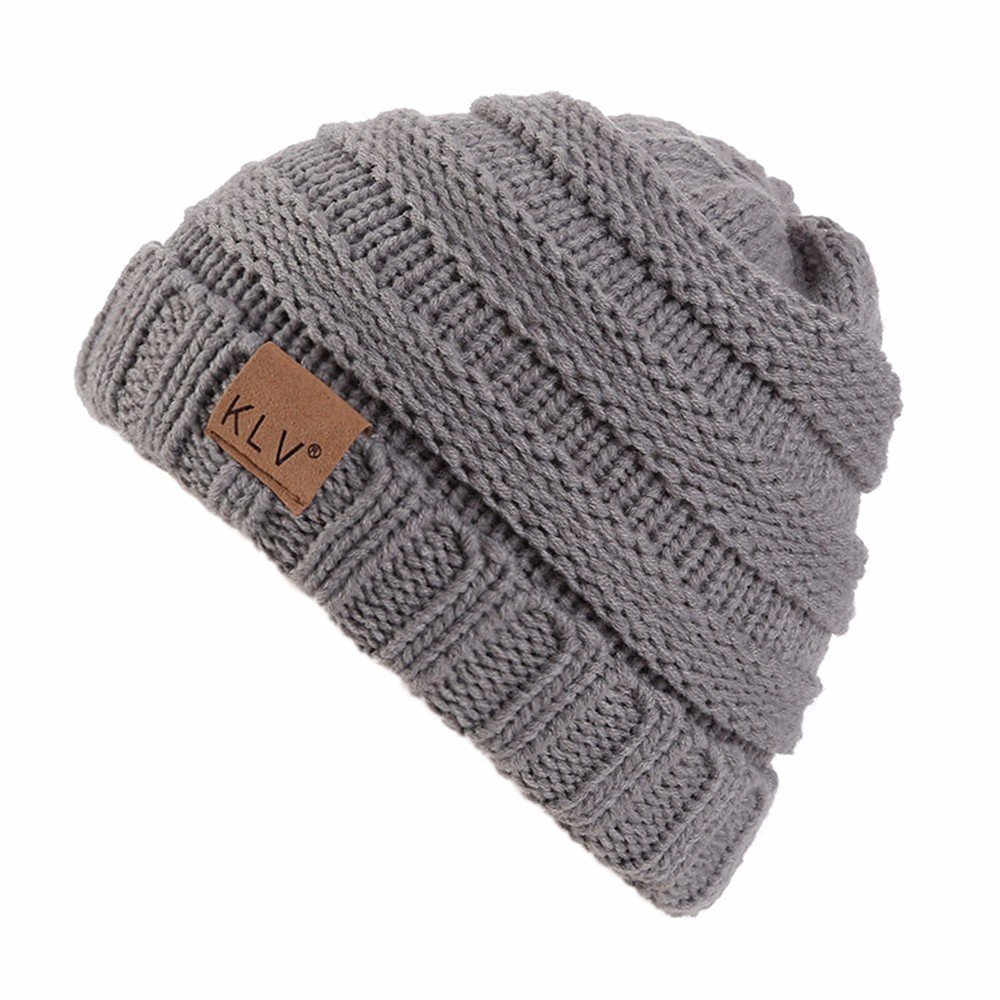 HULKAY Boy Girls Caps Premium Soft Stretch Winter Trendy Warm Wool Knitted Hat(Gray)