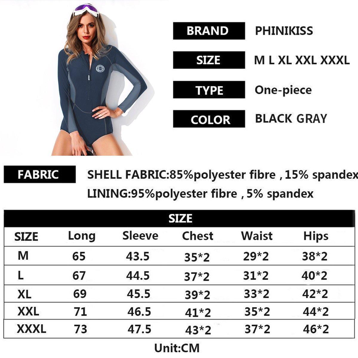 5cde0bc8b5f0f Bikini FOCLASSY Damen Sport BIKINI Badeanzug One Piece Long Sleeves ...