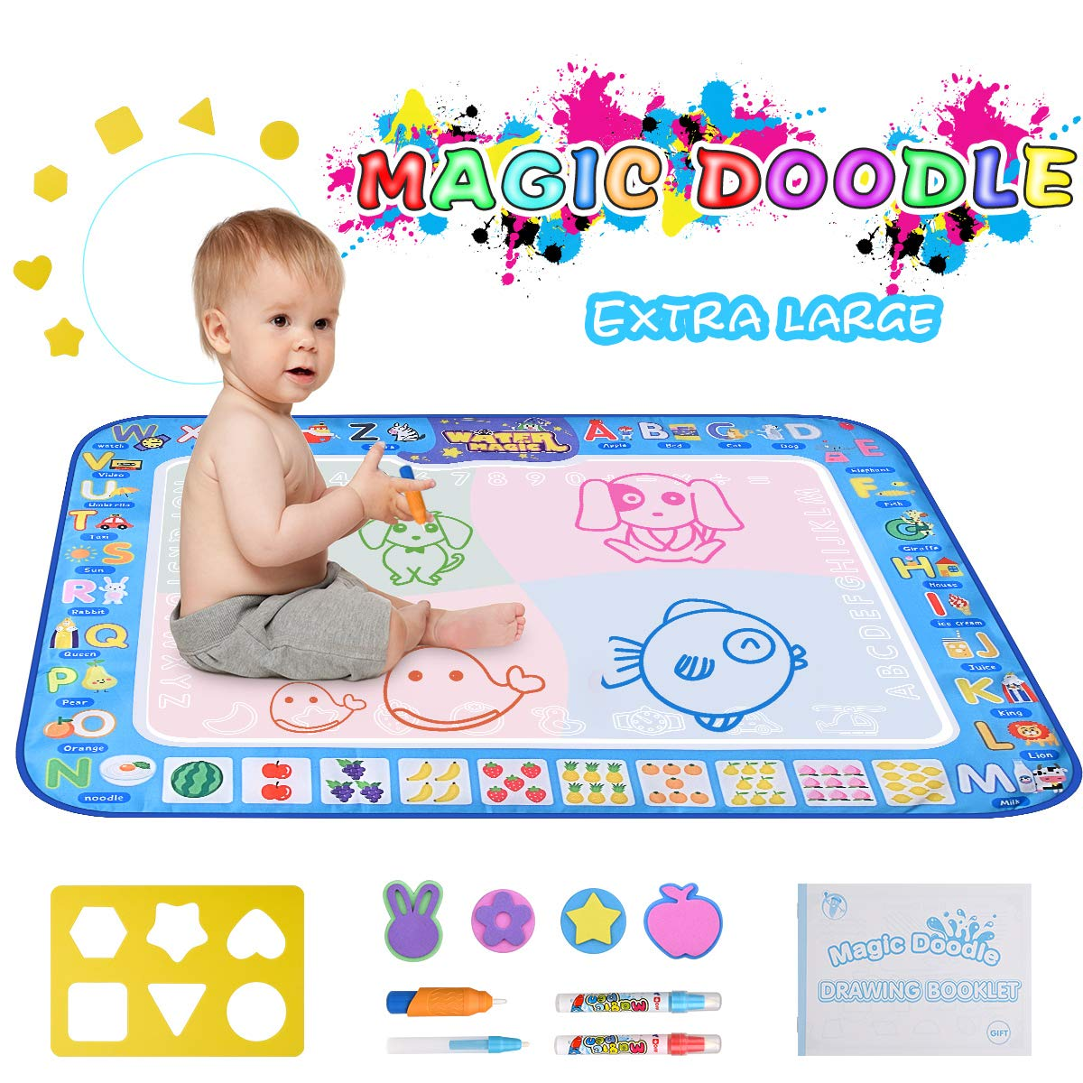 31.5 X 23.6 pipigo Water Doodle Mat Large Size for 2-3 Kids Kid Aqua Magic Drawing Mat Coloring Paint Pad for Toddlers with 4 Water Pens and 6 Models