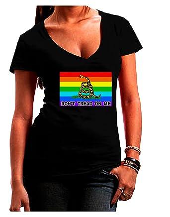 45104f341 LGBT Rainbow Gadsden Flag Freedom Juniors V-Neck Dark T-Shirt - Black -
