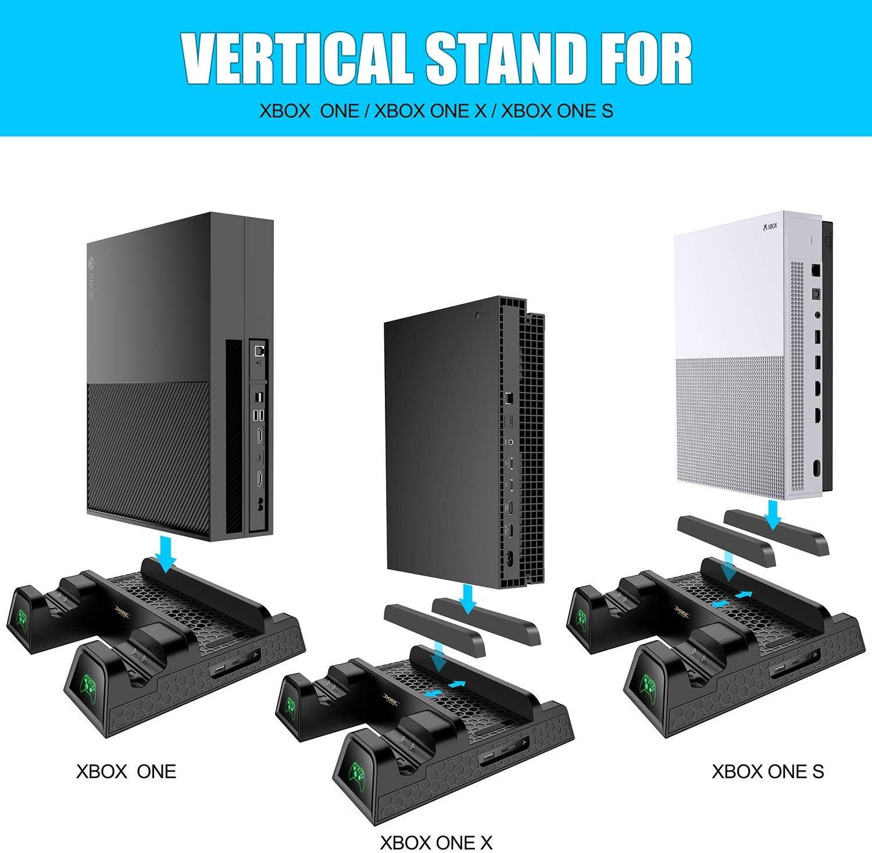 4 en 1] KINGTOP Ventilador de Refrigeración Estación de carga Soporte Vertical Cargador de Batería Mando Xbox One Estación Cargador con 2 Baterías 600mAh para Xbox One, One S, One X, Xbox