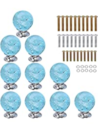 homeideas 10pcs 30mm aqua blue bubble crystal glass cabinet knob cupboard drawer pull handle3 modern stainless steel cabinet door handles drawer