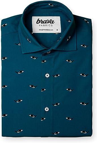 Brava Fabrics | Camisa Hombre Manga Larga Estampada | Camisa Azul para Hombre | Camisa Casual Regular Fit | 100% Algodón | Modelo Arctic Orca | Talla: Amazon.es: Ropa y accesorios