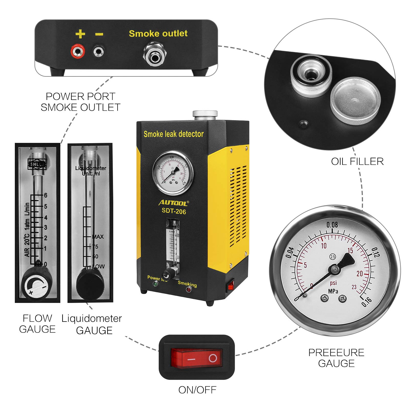 AUTOOL SDT206 Automotive Fuel leakage Diagnostic Tester 2 MODES Car Conduit PIPE System Leakage Tester Car Fuel Leak Detector For 12V Vehicle Boat With Adjustable FlowMeter EVAP Leak Testers Detectors by AUTOOL (Image #3)