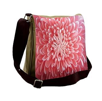 80bb071ca23 Amazon.com   Lunarable Pink Messenger Bag, Photograph of Carnation Nature,  Unisex Cross-body   Messenger Bags