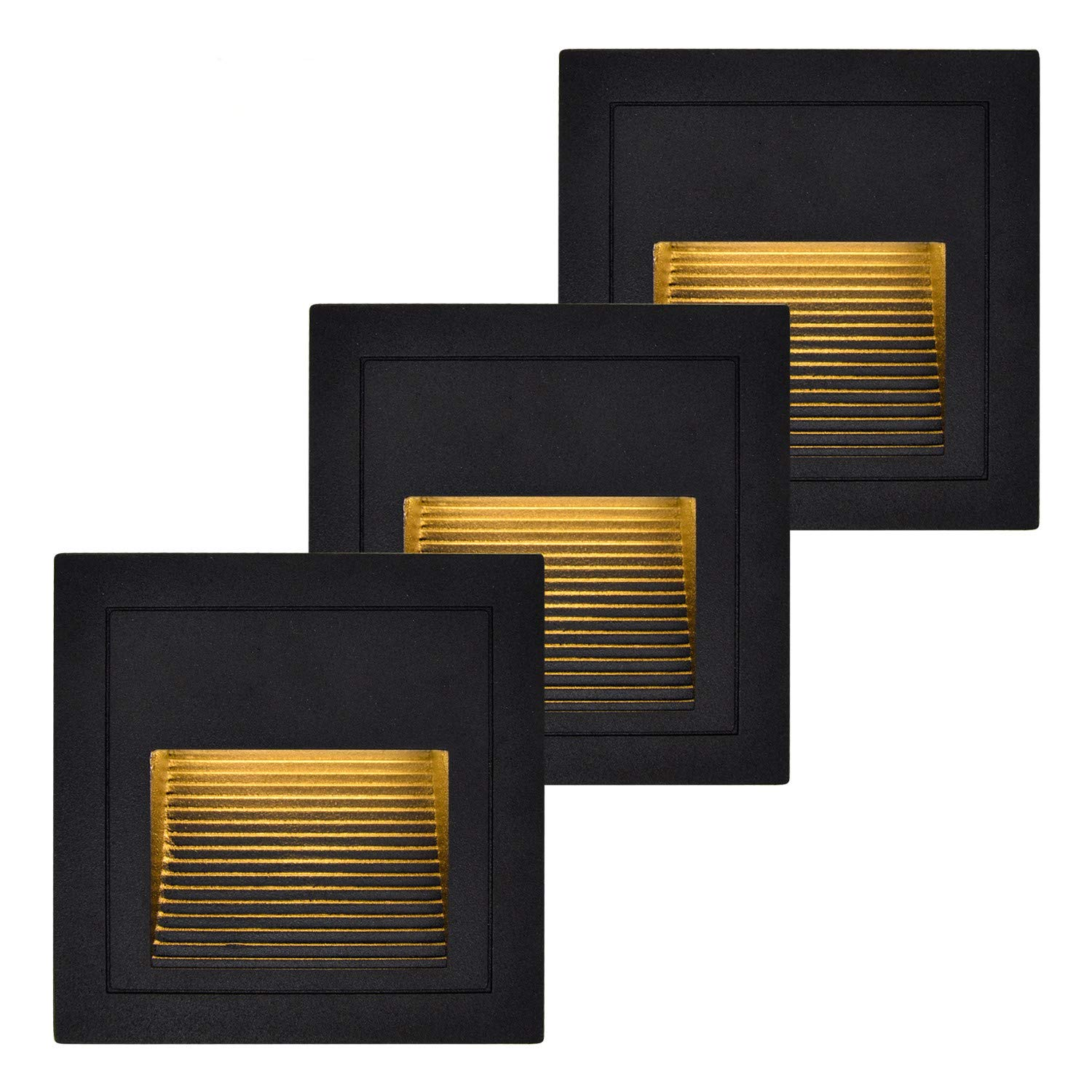(3 Pack) LED Step Lights, BOLXZHU Recessed Stair Light, Waterproof LED Wall Sconces Lighting Indoor Outdoor Night Light 3W 300LM 3000K with 86 Type Boxes(Black+Warm White)