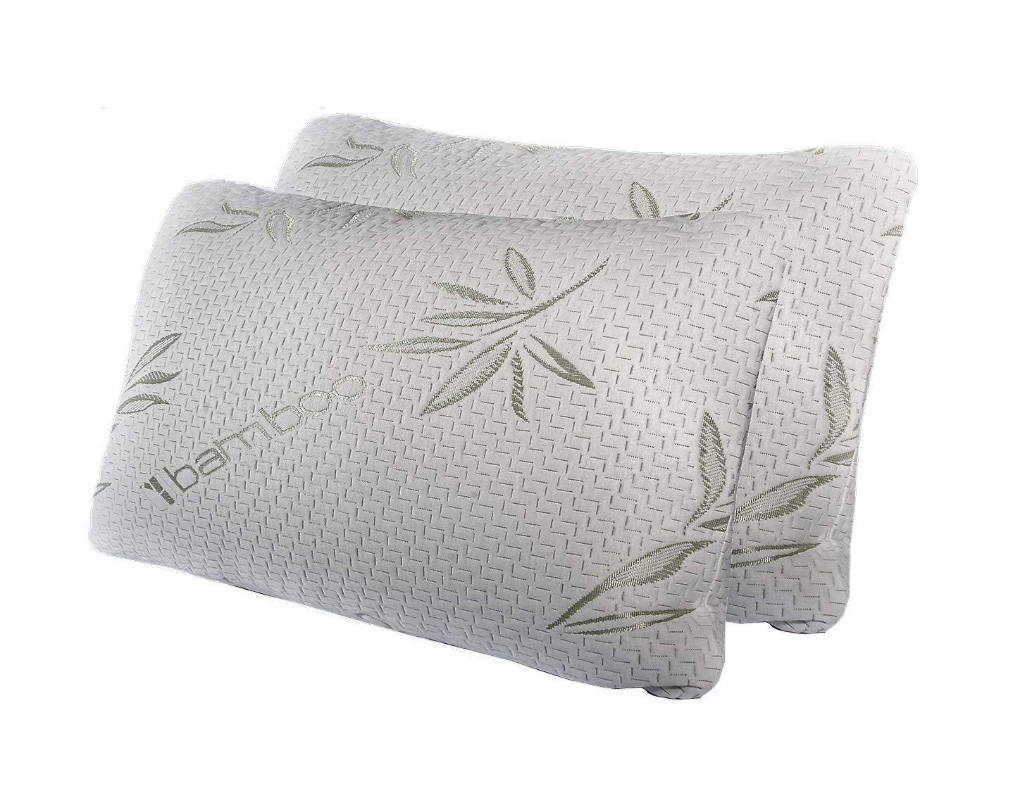 HC Comfort Premium Bamboo Memory Foam Pillow Set of 2. Ultra Cool Hypoallergenic Washable Bamboo Cover USA Designed Queen.