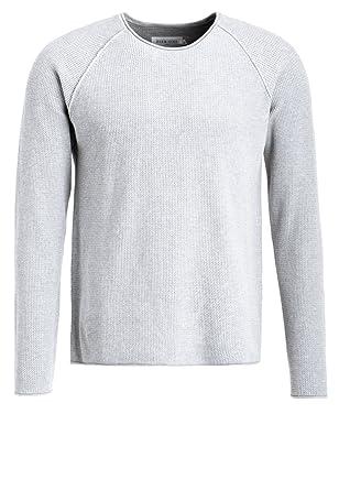 buy popular 3da18 e3aa0 Pier One Pullover Herren mit Rundhals Ausschnitt - 100% Baumwolle -  Strickpullover in Grau o. Blau - Baumwollpullover aus Strick