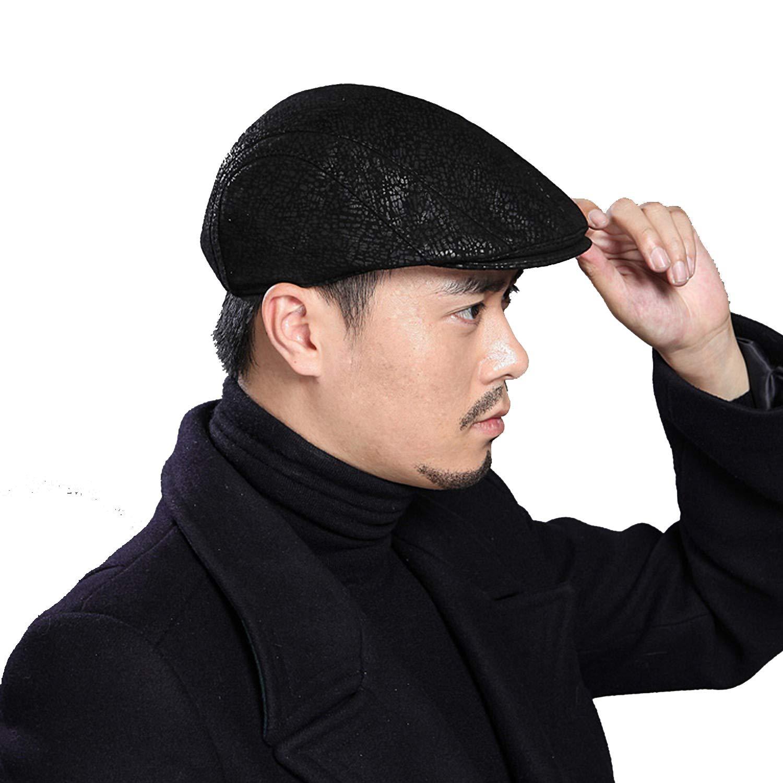 UKURO Sheepskin Real Leather Flat Cap Men Women Spring Summer Beret Adjustable Breathable Soft Newsboy Leopard Print Hat,Black,XL