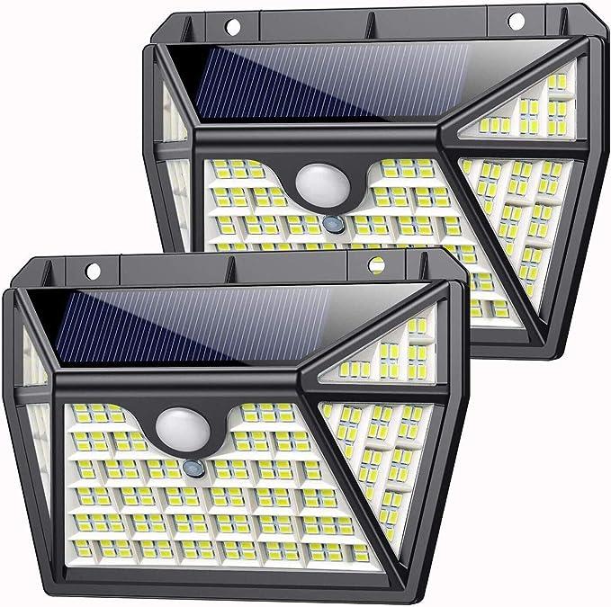 Luz Solar Exterior 210LED, AOPAWA [Actualizada 2000 Lúmenes] Foco Solar con Sensor de Movimiento Lámpara Solar Exterior Impermeable Gran Ángulo 270º de Iluminación Luces Solares Jardín 2-Paquete: Amazon.es: Iluminación