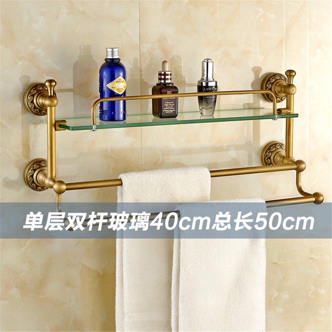 LAONA All copper antique European carved base, bathroom accessories, set rack, towel bar, toilet paper rack,Shelf 1 B 50cm