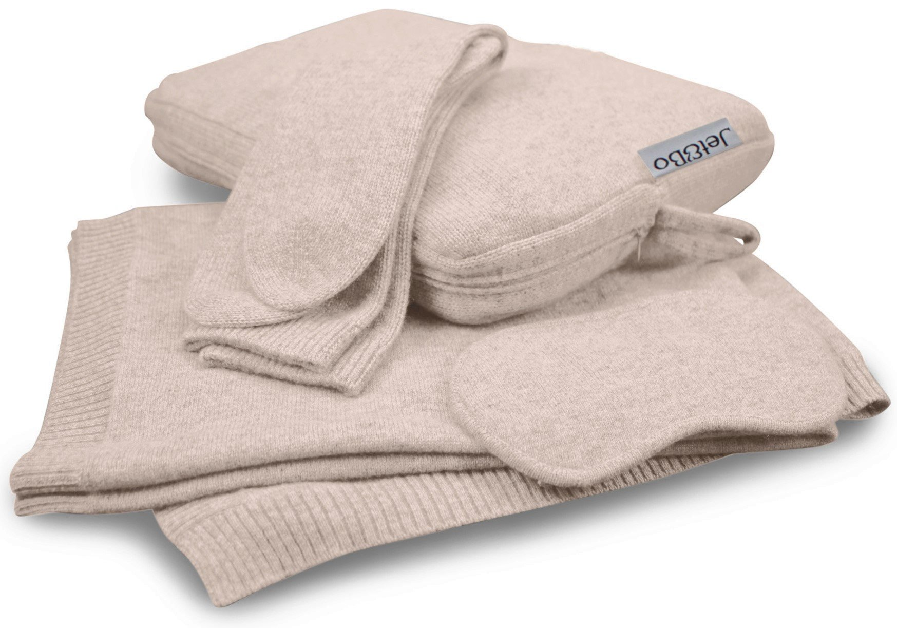 Jet&Bo 100% Cashmere Travel Set: Blanket, Eye Mask, Socks, Carry/Pillow Case Natural